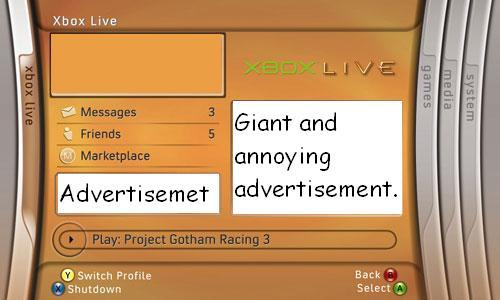 Xbox Live Login on the Xbox360, with ads clearly marked.